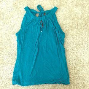 Blue-green halter top